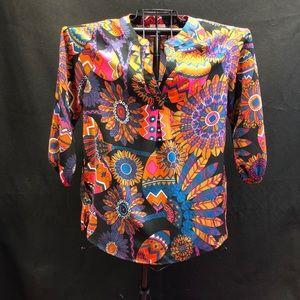 Julie Brown NYC Multicolored Starburst Print Top